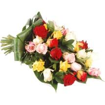 Rouwboeket mix rozen