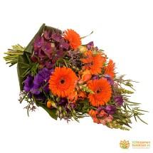 Rouwboeket oranje - paars