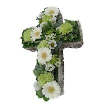 Witte bloemen kruis