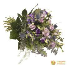 Rouwboeket blauw paars